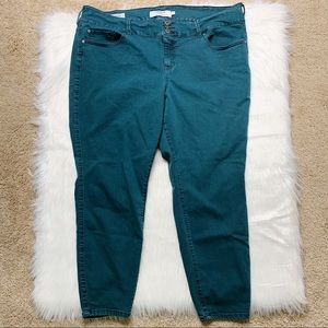 Torrid Jegging Teal Skinny Jeans Triple Button